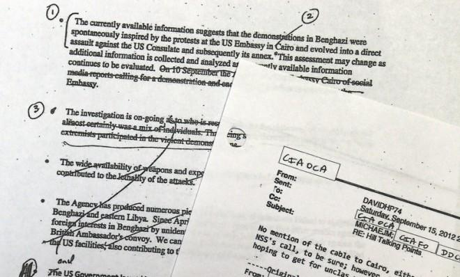 A portion of pages of emails the White House released on May 15, which show how the Obama administration crafted its talking points about Benghazi.