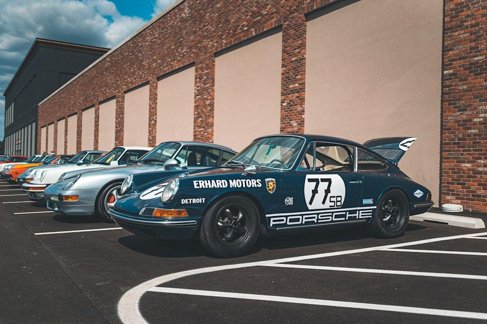 <p>This 1967 911 competed in the second-ever SCCA Trans American Race Series. Magnesium racing wheels, through-the-hood fuel-tank filler, and its original fender flares that accepted wider tires for road racing have all been retained.</p>
