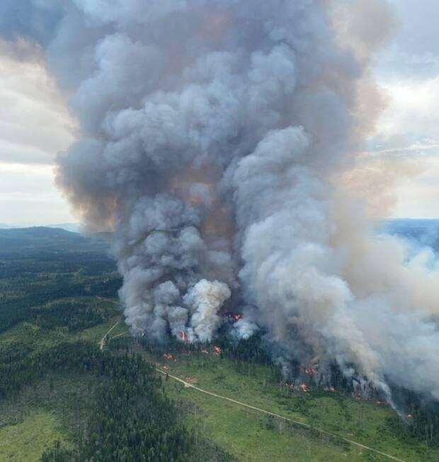 The BC Wildfire Service set a controlled burn on July 5 in an attempt to head off the Deka Lake wildfire in the Cariboo region. Firefighters are battling hundreds of wildfires in the province and the summer forecast means more are likely to ignite.  (BC Wildfire Service - image credit)