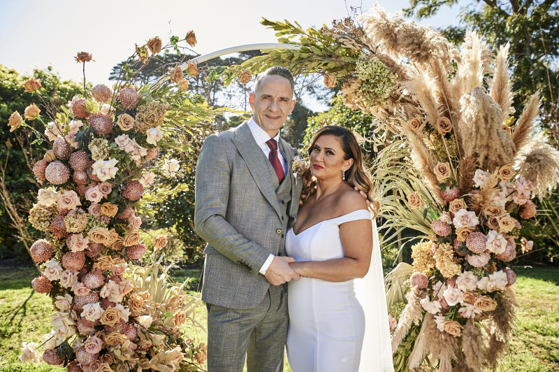 MAFS groom Steve Burley and his bride Mishel Meshes on their wedding day.