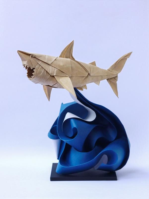 """Origami art - Great White Shark. Refolded and added a """"crazy wave""""."""