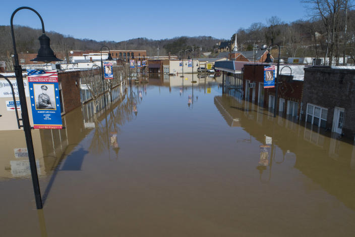 The city of Beattyville, Ky., sits underwater following heavy rains which caused the Kentucky River to flood, Tuesday, March 2, 2021. (Alex Slitz/Lexington Herald-Leader via AP)