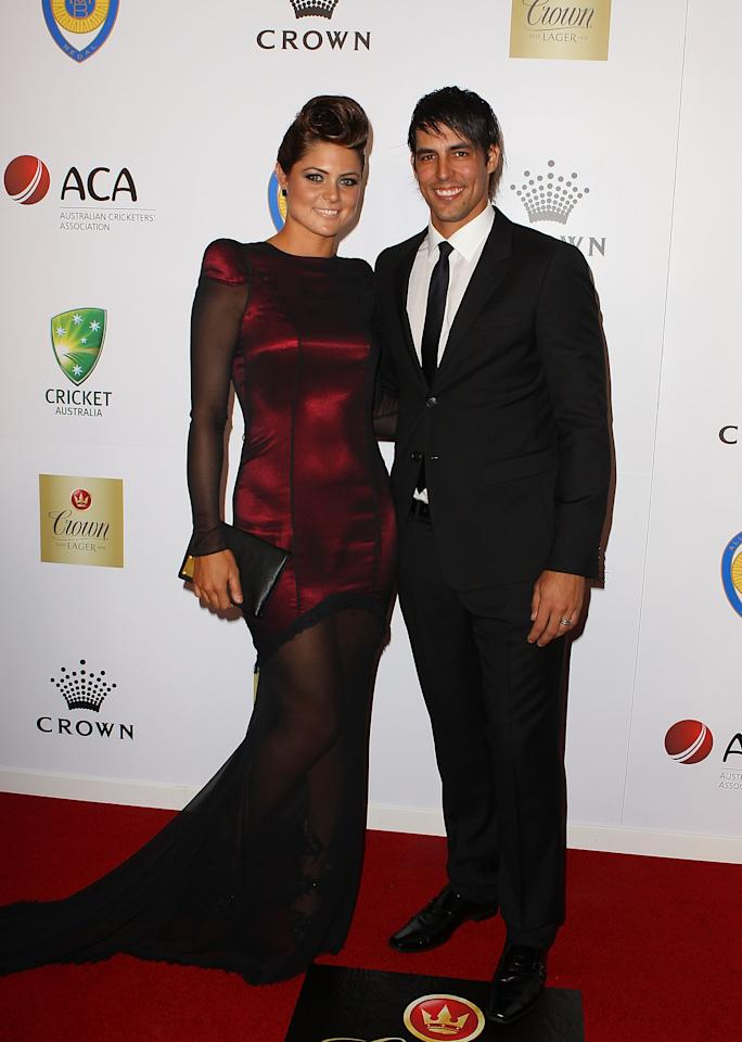 MELBOURNE, AUSTRALIA - FEBRUARY 27:  Mitchell Johnson and Jessica Bratich Johnson arrive at the 2012 Allan Border Medal Awards at Crown Palladium on February 27, 2012 in Melbourne, Australia.  (Photo by Scott Barbour/Getty Images)
