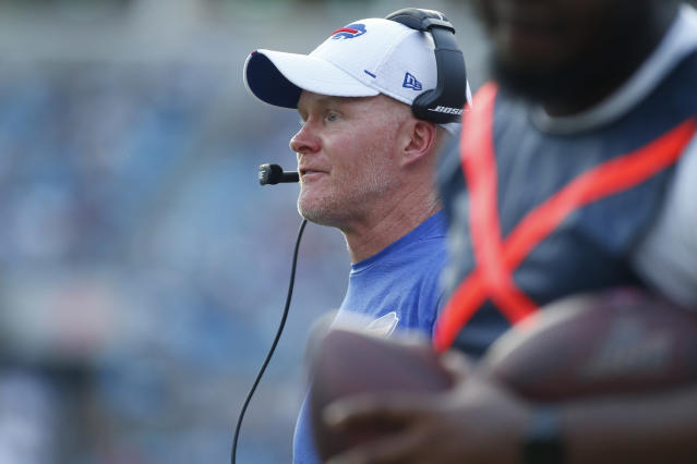 Buffalo Bills head coach Sean McDermott watches play against the Carolina Panthers during the first half an NFL preseason football game, Friday, Aug. 16, 2019, in Charlotte, N.C. (AP Photo/Brian Blanco)