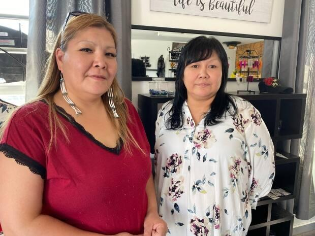 Lesley Ann Evans, left, and Rose Martel are the new entrepreneurs behind the new shop Dene Divas Traditional Arts and Crafts in Old Town Yellowknife.  (Chantal Dubuc/CBC - image credit)