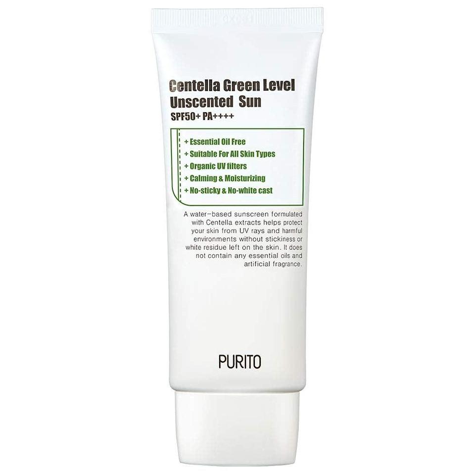 """<h3>PURITO Centella Green Level Unscented Sun SPF50+ PA++++</h3> <br>1,217 reviewers can't be wrong! This formula is ultra-soothing for redness-prone complexions, thanks to ingredients like centella asiatica (cica, for short) and niacinamide.<br><br><strong>Fan-Following Says</strong>: """"I've tried every sunscreen on the market. I usually prefer physical sunscreens due to sensitive skin. Zinc sunscreens are the only ones that don't break me out, but the downside is they're very drying to my skin and smear on everything that I own. No U.S. sunscreens can live up to Korean sunscreens. So I finally decided to give this chemical sunscreen a shot because it checked all the boxes for me. No fragrance and above an SPF 30. Also, you can't go wrong with the niacinamide in the ingredients — that's a huge plus for me. This chemical sunscreen is the first one ever that doesn't break me out. If you struggle with finding a sunscreen that doesn't break you out, I recommend this one 100%! Make sure to reapply every 2-3 hours.""""<br><br><strong>PURITO</strong> Centella Green Level Unscented Sun SPF50+ PA++++, $, available at <a href=""""https://amzn.to/2ZWgeAB"""" rel=""""nofollow noopener"""" target=""""_blank"""" data-ylk=""""slk:Amazon"""" class=""""link rapid-noclick-resp"""">Amazon</a><br><br><br>"""