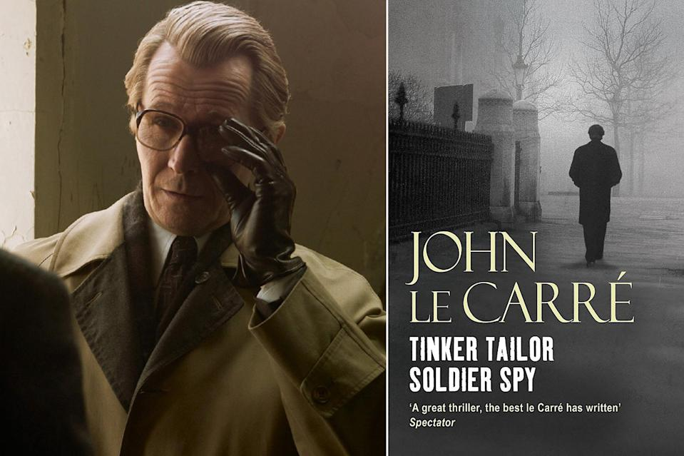 """<p>A spymaster and a mole hunt for the ages made <a href=""""https://ew.com/creative-work/tinker-tailor-soldier-spy/"""" rel=""""nofollow noopener"""" target=""""_blank"""" data-ylk=""""slk:Tinker Tailor Soldier Spy"""" class=""""link rapid-noclick-resp""""><i>Tinker Tailor Soldier Spy</i></a> a hit on both the page and the screen. The beloved 1974 <a href=""""https://ew.com/tag/john-lecarre/"""" rel=""""nofollow noopener"""" target=""""_blank"""" data-ylk=""""slk:John le Carré"""" class=""""link rapid-noclick-resp"""">John le Carré</a> novel about spy George Smiley and his pursuit for a Soviet double agent in British Intelligence, has been praised by readers — and reputedly, spies themselves — for its vivid characters, realism, and taut story. The BBC serialized for novel for both television and radio, but it was until 2011 that le Carré's mole hunt hopped from the page to the <a href=""""https://ew.com/article/2012/01/11/tinker-tailor-soldier-spy/"""" rel=""""nofollow noopener"""" target=""""_blank"""" data-ylk=""""slk:big screen"""" class=""""link rapid-noclick-resp"""">big screen</a> with <a href=""""https://ew.com/tag/gary-oldman/"""" rel=""""nofollow noopener"""" target=""""_blank"""" data-ylk=""""slk:Gary Oldman"""" class=""""link rapid-noclick-resp"""">Gary Oldman</a> with in the role of Smiley and star-studded cast including <a href=""""https://ew.com/tag/tom-hardy/"""" rel=""""nofollow noopener"""" target=""""_blank"""" data-ylk=""""slk:Tom Hardy"""" class=""""link rapid-noclick-resp"""">Tom Hardy</a>, <a href=""""https://ew.com/tag/mark-strong/"""" rel=""""nofollow noopener"""" target=""""_blank"""" data-ylk=""""slk:Mark Strong"""" class=""""link rapid-noclick-resp"""">Mark Strong</a>, <a href=""""https://ew.com/tag/colin-firth/"""" rel=""""nofollow noopener"""" target=""""_blank"""" data-ylk=""""slk:Colin Firth"""" class=""""link rapid-noclick-resp"""">Colin Firth</a>, Ciarán Hinds, and <a href=""""https://ew.com/tag/benedict-cumberbatch/"""" rel=""""nofollow noopener"""" target=""""_blank"""" data-ylk=""""slk:Benedict Cumberbatch"""" class=""""link rapid-noclick-resp"""">Benedict Cumberbatch</a>, earning numerous award nominations along the way, including Oscar noms for Best Original Scor"""