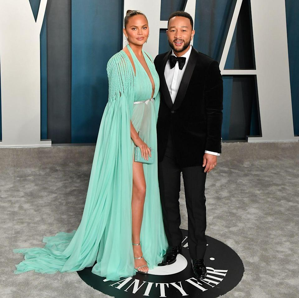 "<p>The couple attended the <a href=""https://www.elle.com/uk/fashion/celebrity-style/g30847701/oscars-after-party-best-dressed/"" rel=""nofollow noopener"" target=""_blank"" data-ylk=""slk:2020 Vanity Fair Oscars after party"" class=""link rapid-noclick-resp"">2020 Vanity Fair Oscars after party</a>, with Teigen stunning in a aqua blue Georges Hobeika gown.</p>"