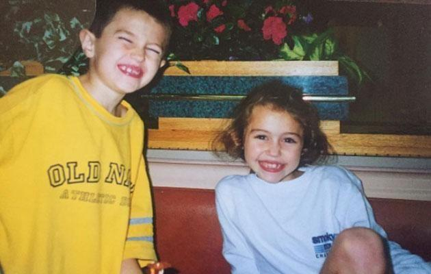 Miley and her younger Braison as kids. Source: Instagram