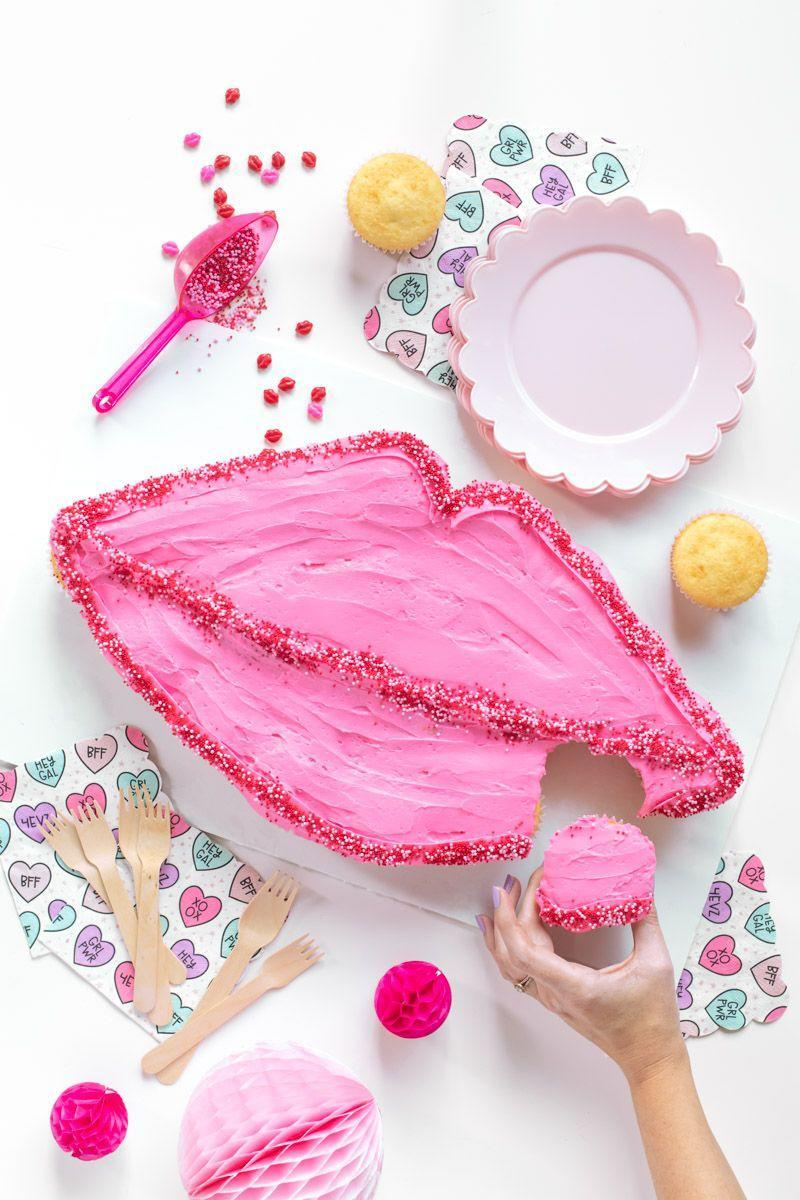 """<p>One layer of pink frosting gives an arrangement of vanilla cupcakes a more unified look. </p><p><em><a href=""""https://www.clubcrafted.com/lips-pull-apart-cupcakes/"""" rel=""""nofollow noopener"""" target=""""_blank"""" data-ylk=""""slk:Get the recipe at Club Crafted »"""" class=""""link rapid-noclick-resp"""">Get the recipe at Club Crafted »</a></em></p>"""