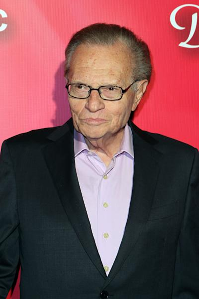 """Television personality Larry King arrives at the Keep Memory Alive 16th Annual """"Power of Love Gala"""" honoring Muhammad Ali with his 70th birthday celebration on Saturday, Feb. 18, 2012, in Las Vegas. (AP Photo/Jeff Bottari)"""