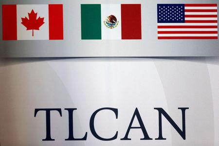 A NAFTA logo is seen during the fifth round of NAFTA talks involving the United States, Mexico and Canada, in Mexico City