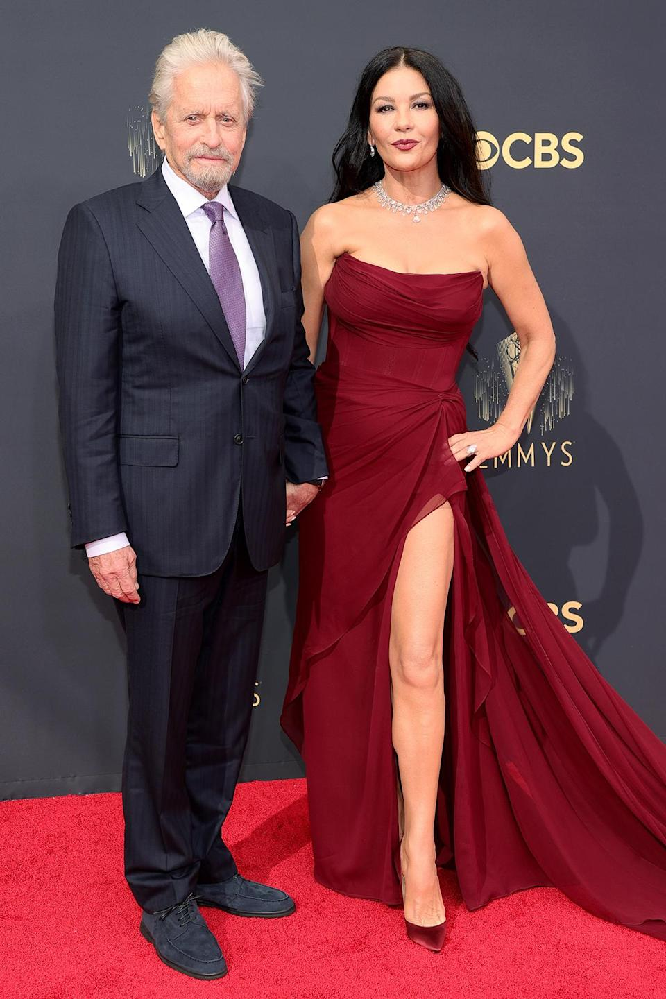 """<p>Douglas, nominated for outstanding lead actor in a comedy for <em>The Kominsky Method, </em>arrived with Zeta-Jones, who said she is a """"very proud wife.""""</p>"""