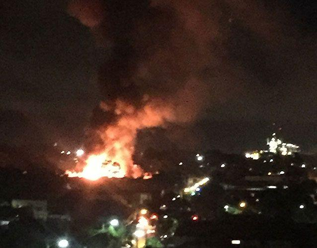 The fire destroyed a large portion of the furniture warehouse in Marrickville. Photo: Clare McCallum
