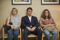 "This image released by Netflix shows Haley Bennett, from left, Gabriel Basso and Amy Adams in a scene from ""Hillbilly Elegy."" (Lacey Terrell/Netflix via AP)"