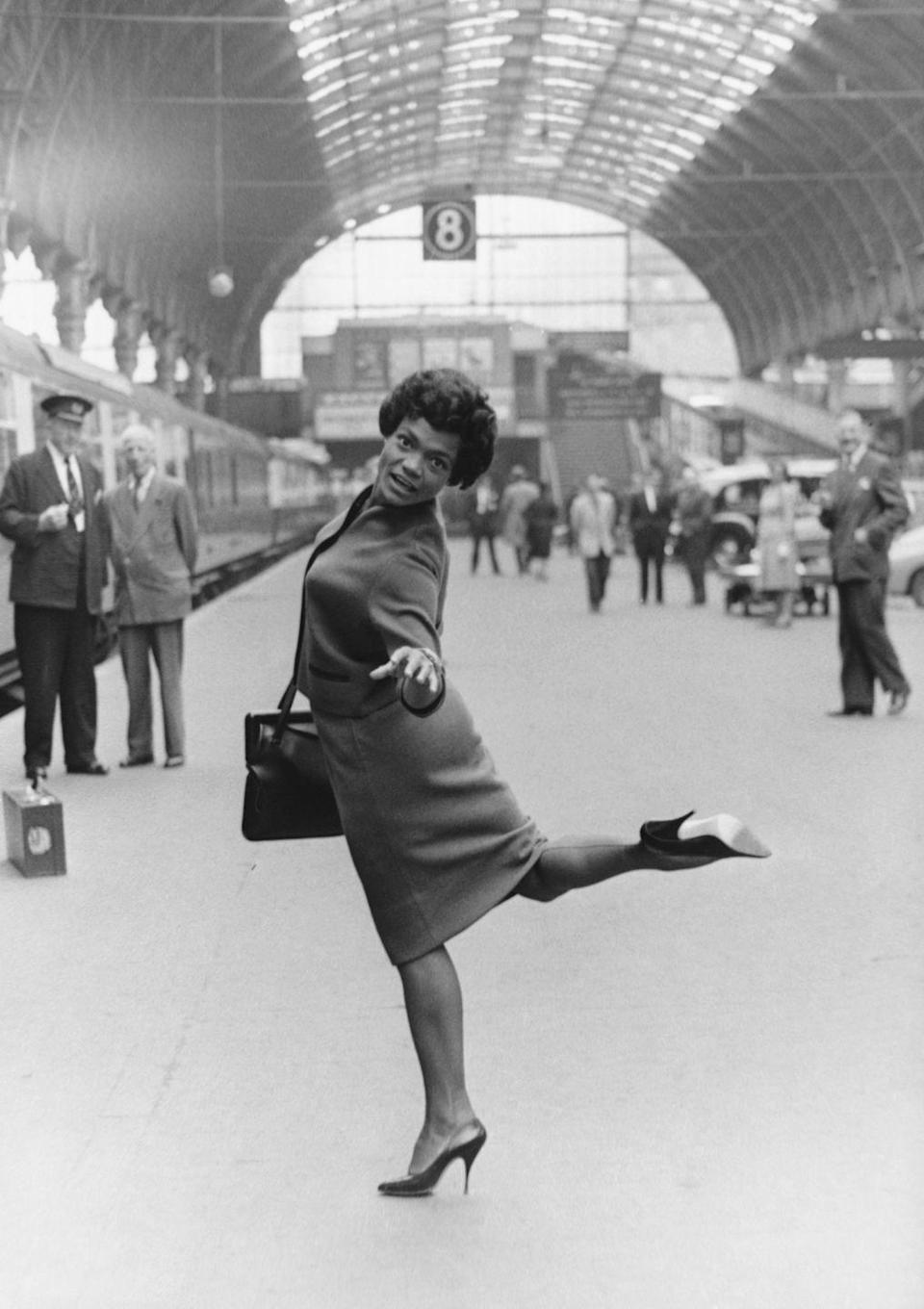 <p>Kitt arrives at Paddington Station in London at the start of a two-month cabaret gig with her new husband of three months, Bill McDonald. Kitt would live in London for several years—raising her daughter there off and on—and considered it a second home. </p>