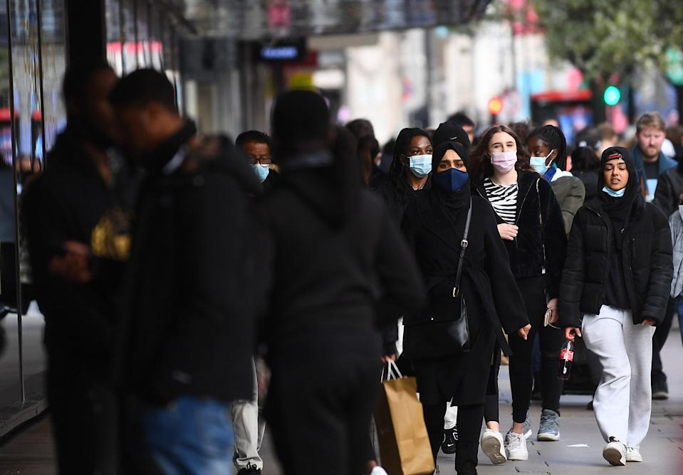 <p>Shoppers on Oxford Street, London, as England takes another step back towards normality with the further easing of lockdown restrictions</p> (PA)