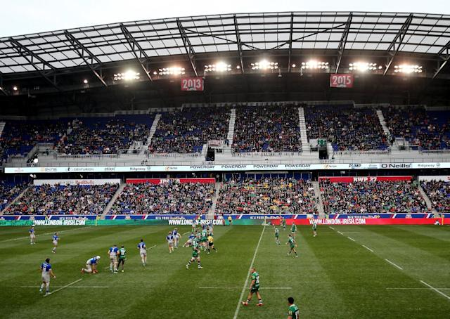 HARRISON, NJ - MARCH 12: London Irish take on Saracens during the Aviva Premiership match on March 12, 2016 at Red Bull Arena in Harrison, New Jersey. (Photo by Elsa/Getty Images)
