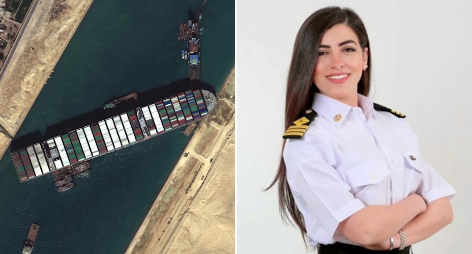 Captain Marwa Elselehdar (right) was onboard the Ever Given when it became stuck (left)