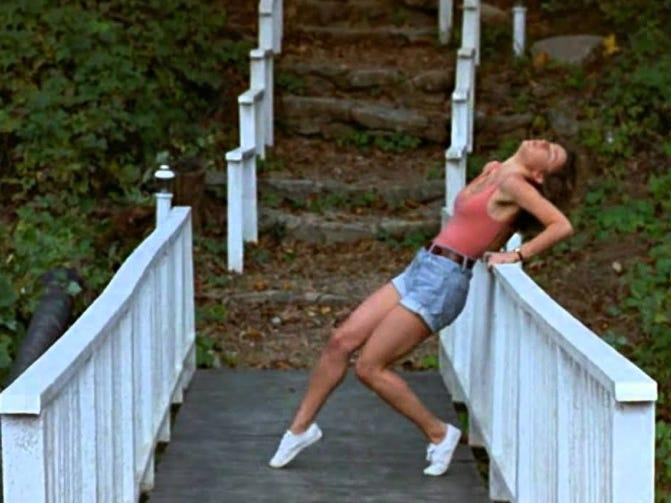 dirty dancing white keds bridge scene