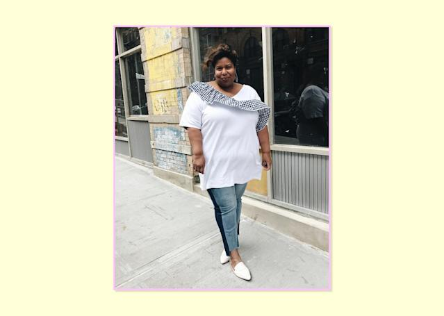 "<p><strong>Kellie Brown, <a href=""http://www.andigetdressed.com/"" rel=""nofollow noopener"" target=""_blank"" data-ylk=""slk:And I Get Dressed"" class=""link rapid-noclick-resp"">And I Get Dressed</a></strong><br> My go-to jeans are usually a combination of quirky and trendy. Right now I'm living in these high-low hem two-tone jeans from Eloquii. I love these jeans because they are so cool. The fit is perfect (size range is 14 to 24), the denim is super soft, and they have very little stretch so they don't turn into baggy jeans after a few hours of wear.<br>Blocked Jeans, $90, <a href=""http://www.eloquii.com/blocked-jeans/1104030.html?cgid=jeans&start=18&dwvar_1104030_colorCode=17"" rel=""nofollow noopener"" target=""_blank"" data-ylk=""slk:Eloquii"" class=""link rapid-noclick-resp"">Eloquii</a> </p>"