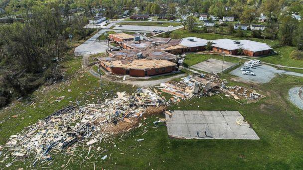 PHOTO: An aerial view of significant damage to W.M. Hampton Elementary School in Greensboro, N.C., April 16, 2018. (Travis Long/AP)