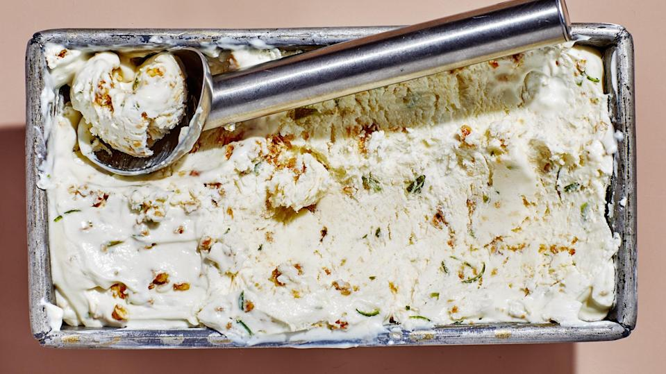 """Tangy labneh gives this no-churn ice cream serious Froyo vibes. It's creamy, lime-y, and maaaybe even healthy?! With the crushed granola, you could almost eat it for breakfast. <a href=""""https://www.bonappetit.com/recipe/labneh-and-lime-ice-cream-with-granola?mbid=synd_yahoo_rss"""" rel=""""nofollow noopener"""" target=""""_blank"""" data-ylk=""""slk:See recipe."""" class=""""link rapid-noclick-resp"""">See recipe.</a>"""