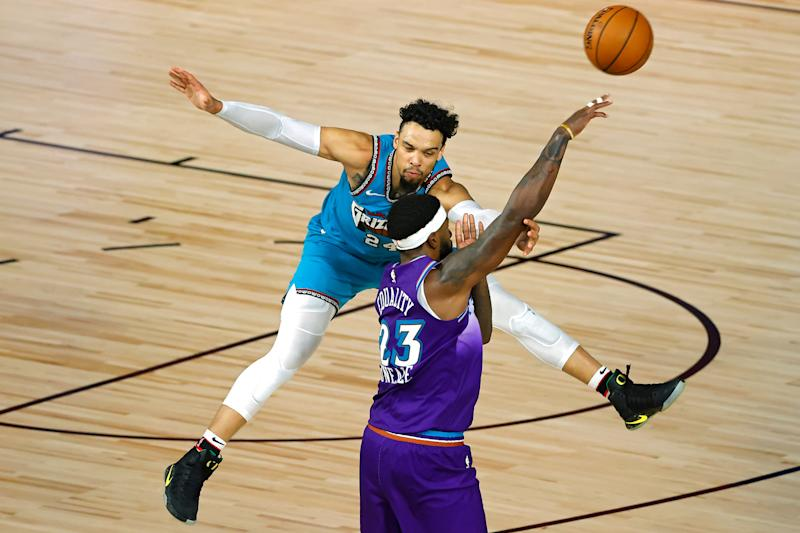 Dillon Brooks and Royce O'Neale during a Memphis Grizzlies versus Utah Jazz basketball game in Orlando, Florida, August 5, 2020.