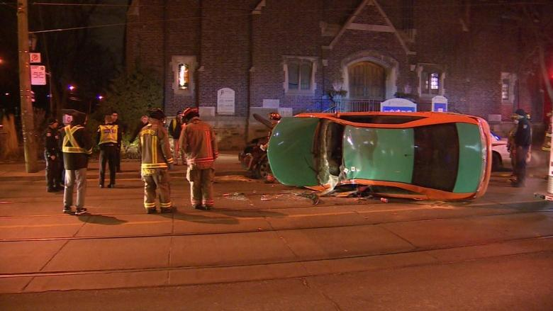 1 injured after taxi flipped on its side in Roncesvalles crash