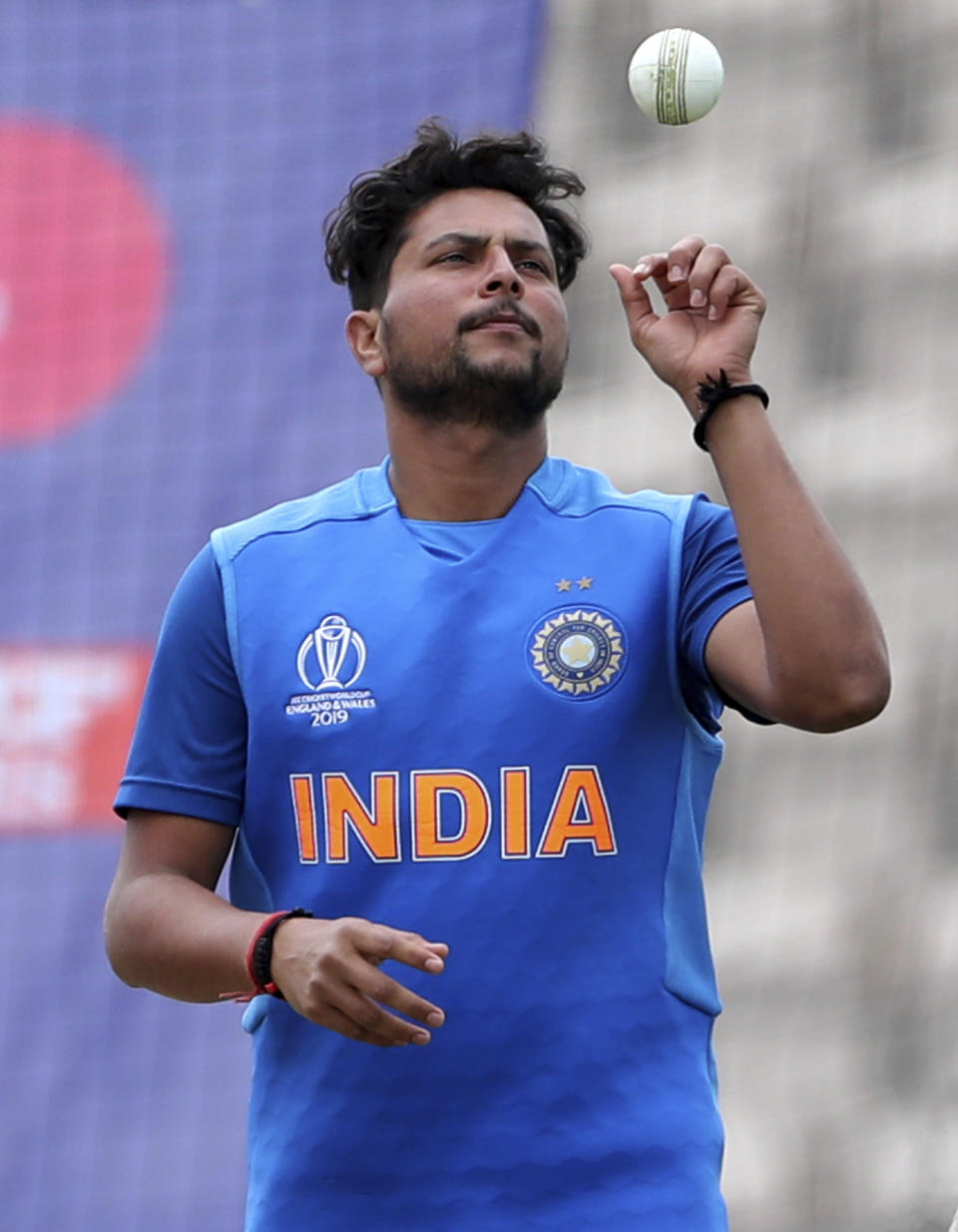 India's Kuldeep Yadav prepares to bowl in the nets during a training session ahead of their Cricket World Cup match against South Africa at Ageas Bowl in Southampton, England, Monday, June 3, 2019. (AP Photo/Aijaz Rahi)