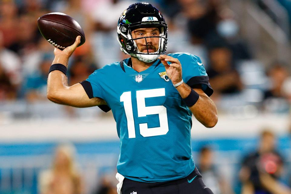 Gardner Minshew throws a pass against the Browns during an exhibition game at TIAA Bank Field. Minshew was traded by the Jaguars to the Eagles on Aug. 28.