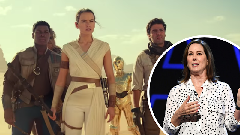 Pictured: Scene from Star Wars: The Rise of Skywalker and Lucasfilm president Kathleen Kennedy. Images: The Walt Disney Company