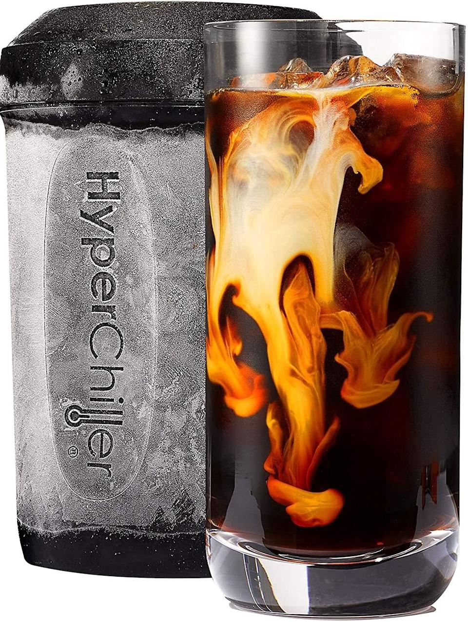 """A must-have if you prefer to drink iced coffee all year. Yes, that includes when it's 25 degrees out.<br /><br /><strong>Promising review:</strong>""""For those not fully familiar with how it works, what it's accomplishing is trying to surround your liquid with as much ice-behind-metal as possible. So, it has a center chamber of ice behind the metal, then an outer chamber of ice.<strong>The inner chamber fits inside the outer with about a cup's worth of space that's between the inner and outer chamber. This exposes your liquid to the greatest surface area of super-cold metal that they can, and since your liquid is only touching metal, and not the ice itself, it doesn't matter the temperature of the liquid poured in.</strong>You can pour in boiling water and while it may end up melting a bunch of the ice behind the metal, none of that water will mix with your drink. So, whether you're chilling a wine, dropping hot coffee to cool it off, or just wanting to rapidly drop the temp of that fresh lemonade you made without making it watery, this will get that done."""" —<a href=""""https://www.amazon.com/dp/B07FJ6J24R?tag=huffpost-bfsyndication-20&ascsubtag=5817703%2C38%2C43%2Cd%2C0%2C0%2C0%2C962%3A1%3B901%3A2%3B900%3A2%3B974%3A3%3B975%3A2%3B982%3A2%2C16401870%2C0"""" target=""""_blank"""" rel=""""noopener noreferrer"""">P. Eriksen</a><br /><br /><strong>Get it from Amazon for <a href=""""https://www.amazon.com/dp/B07FJ6J24R?tag=huffpost-bfsyndication-20&ascsubtag=5817703%2C38%2C43%2Cd%2C0%2C0%2C0%2C962%3A1%3B901%3A2%3B900%3A2%3B974%3A3%3B975%3A2%3B982%3A2%2C16401870%2C0"""" target=""""_blank"""" rel=""""noopener noreferrer"""">$24.99</a>.</strong>"""