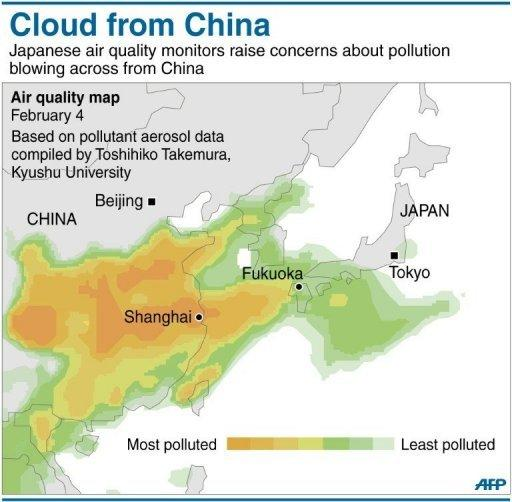 <p>Graphic presenting pollution data on air quality over China and Japan. Pictures of Beijing and other Chinese cities shrouded in thick, choking smog played out across television screens in Japan last week.</p>