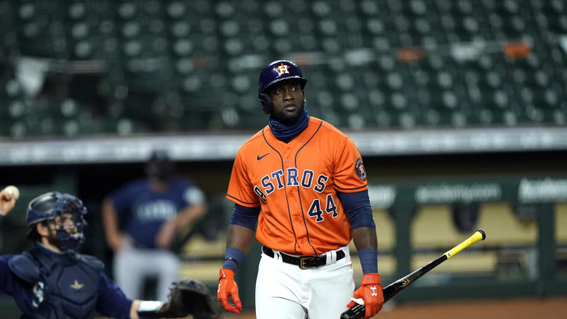 Houston Astros' Yordan Alvarez strikes out against the Seattle Mariners during the fourth inning of a baseball game Friday, Aug. 14, 2020, in Houston. (AP Photo/David J. Phillip)