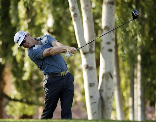 Charley Hoffman hits from the second tee during the third round of the Humana Challenge golf tournament on the Palmer Private course at PGA West Saturday, Jan. 18, 2014, in La Quinta, Calif. (AP Photo/Chris Carlson)
