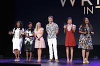 <p>Oprah Winfrey, Mindy Kaling, Reese Witherspoon, Chris Pine, Storm Reid, and director Ava DuVernay pump up the crowd before showing the film's first trailer. (Photo: Disney) </p>