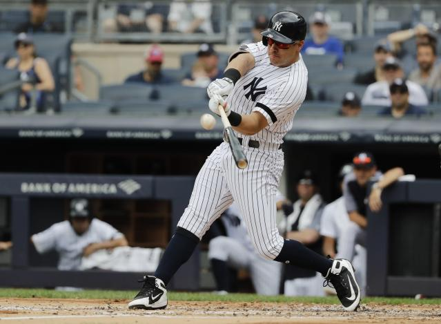 New York Yankees' Mike Tauchman hits a two-run home run during the second inning of a baseball game against the Arizona Diamondbacks Wednesday, July 31, 2019, in New York. (AP Photo/Frank Franklin II)