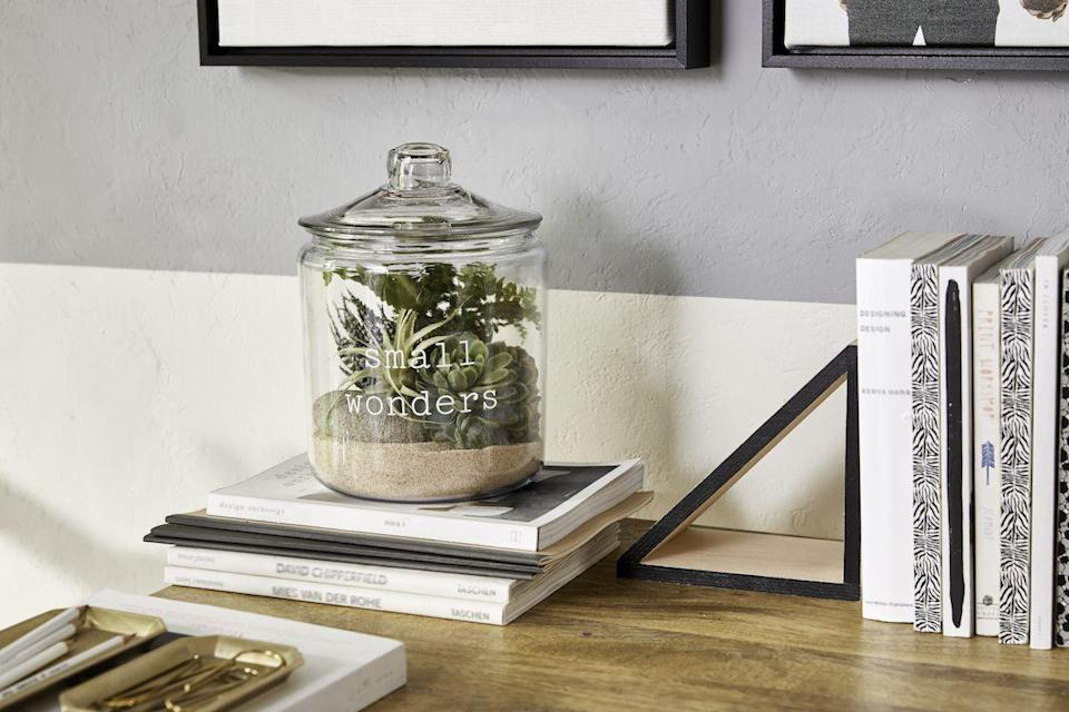 """<p>If Mom loves to keep her garden in tip-top shape but winter is making it a little bit too hard, this terrarium kit will keep her happy for the next couple of months.</p><p><em><strong>Get the tutorial from <a href=""""https://www.shutterfly.com/ideas/diy-gifts/"""" rel=""""nofollow noopener"""" target=""""_blank"""" data-ylk=""""slk:Shutterfly"""" class=""""link rapid-noclick-resp"""">Shutterfly</a>.</strong></em></p><p><strong><a class=""""link rapid-noclick-resp"""" href=""""https://www.amazon.com/Anchor-Hocking-1-Gallon-Heritage-Hill/dp/B01EIJ0P6W/ref=sr_1_4?dchild=1&keywords=GLASS+JAR&qid=1605822240&sr=8-4&tag=syn-yahoo-20&ascsubtag=%5Bartid%7C10063.g.34832092%5Bsrc%7Cyahoo-us"""" rel=""""nofollow noopener"""" target=""""_blank"""" data-ylk=""""slk:SHOP GLASS JARS"""">SHOP GLASS JARS</a></strong></p>"""