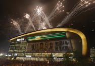 Fireworks explode over fiserv forum after the Milwaukee Bucks defeated the Phoenix Suns in Game 6 of the NBA basketball finals to win the NBA Championship early Tuesday, July 20, 2021, in Milwaukee. (AP Photo/Jeffrey Phelps)