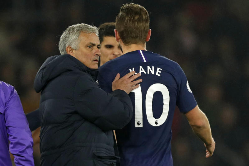 Jose Mourinho and Tottenham won't have the services of Harry Kane at home against Liverpool. (Photo by ADRIAN DENNIS/AFP via Getty Images)