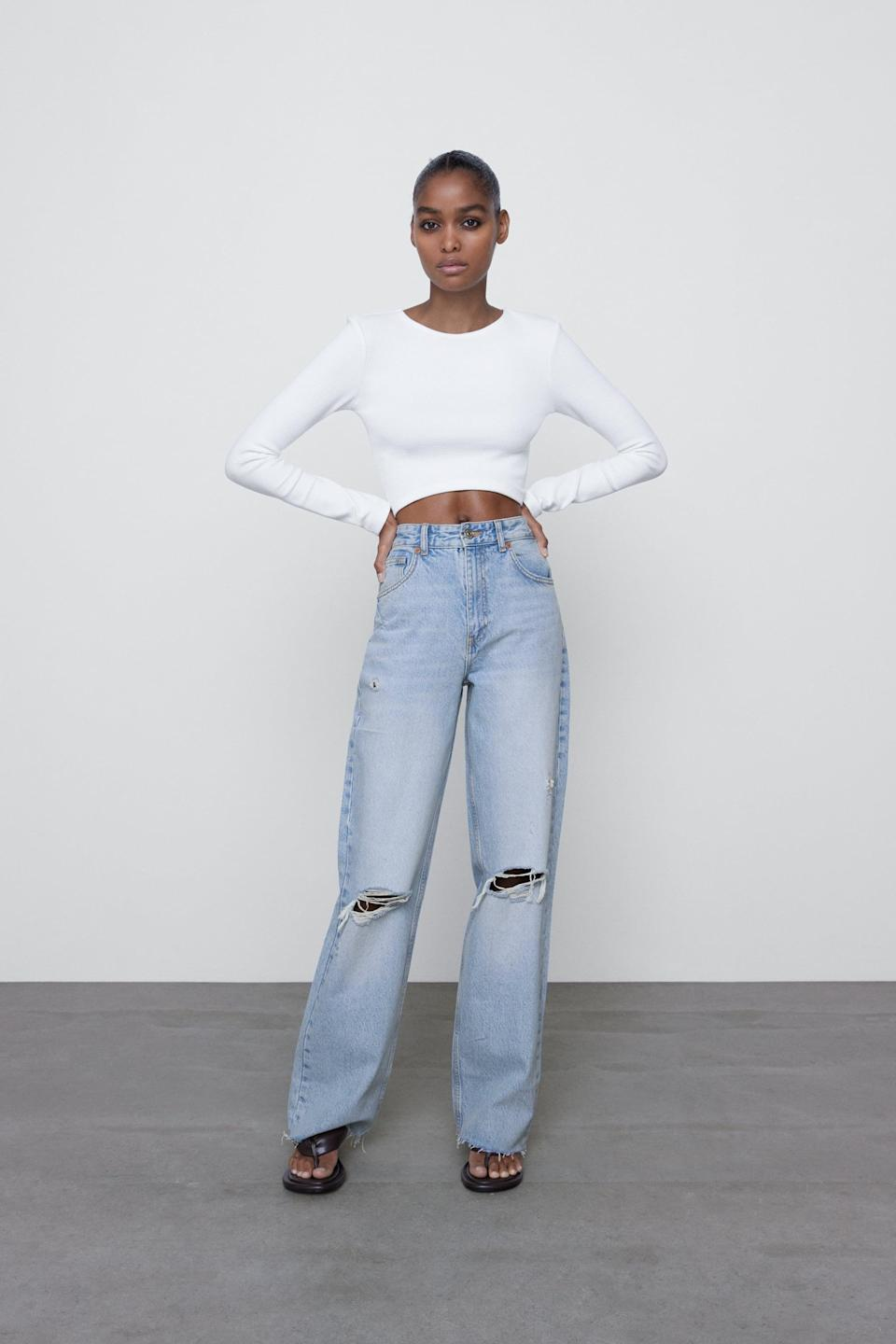 <p>These <span>Zara Wide Leg Full Length Ripped Jeans</span> ($50) have a cult following, and they're super flattering.</p>