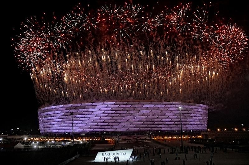 Fireworks erupt during the opening ceremony of the 2015 European Games in Baku (AFP Photo/TOFIK BABAYEV)