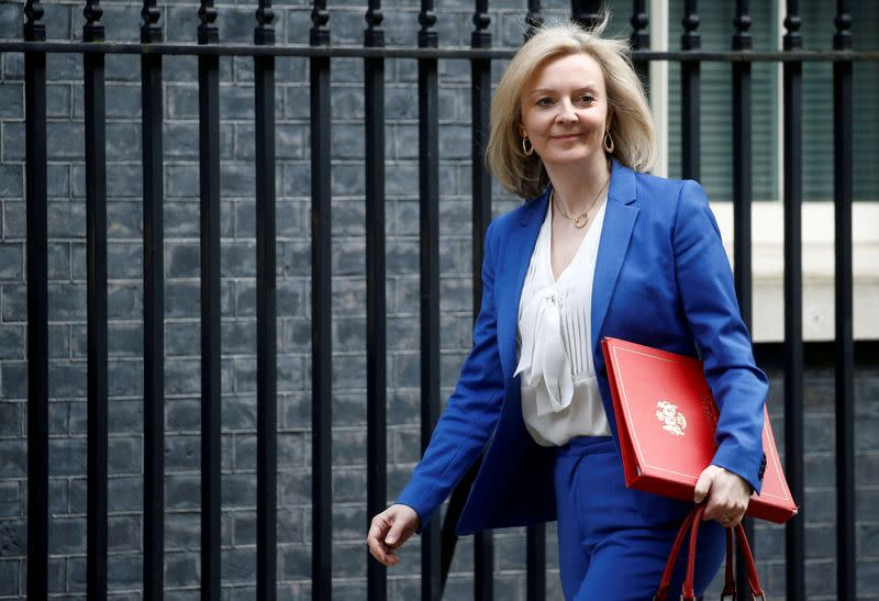 FILE PHOTO: Britain's Secretary of State of International Trade and Minister for Women and Equalities Liz Truss is seen outside Downing Street, in London, Britain