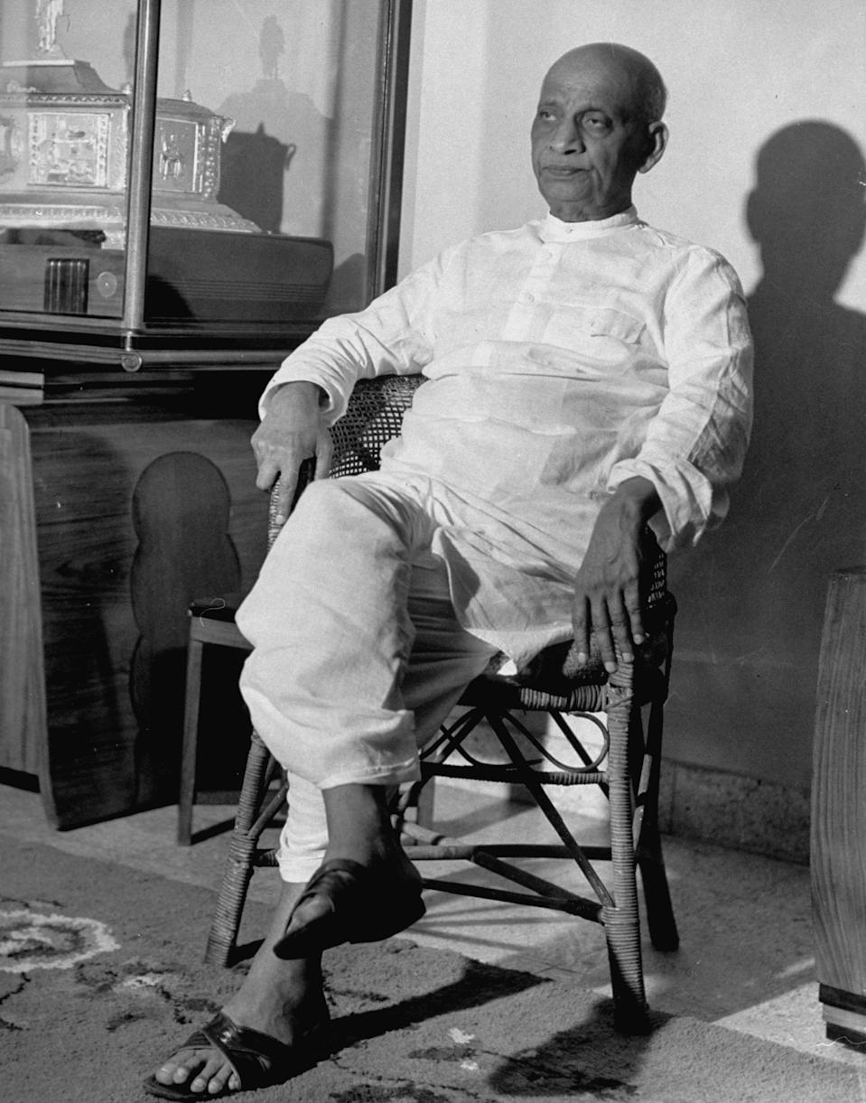 Sardar Vallabhbhai Patel, the first Home Minister of India, helped politically integrate India, which for the most part was a cluster of hundreds of princely states. His tough views that made India a union earned him the epithet, the 'Iron Man of India'. <em>May 1946: Vallabhbhai Patel, right wing ldr. of India's Congress Party, relaxing at home. (Photo by Margaret Bourke-White/The LIFE Picture Collection via Getty Images)</em>