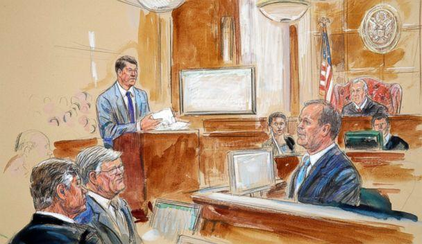 PHOTO: This courtroom sketch depicts Rick Gates, right, testifying during questioning by prosecutor Greg Andres, standing at left, as Manafort's trial continues at federal court in Alexandria, Va., Aug. 7, 2018. (Dana Verkouteren via AP)