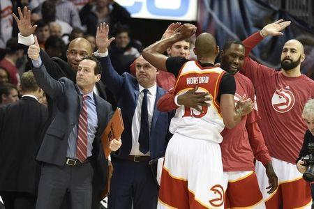 Mar 6, 2015; Atlanta, GA, USA; The Atlanta Hawks bench reacts after defeating the Cleveland Cavaliers at Philips Arena. The Hawks won 106-97. Mandatory Credit: Dale Zanine-USA TODAY Sports