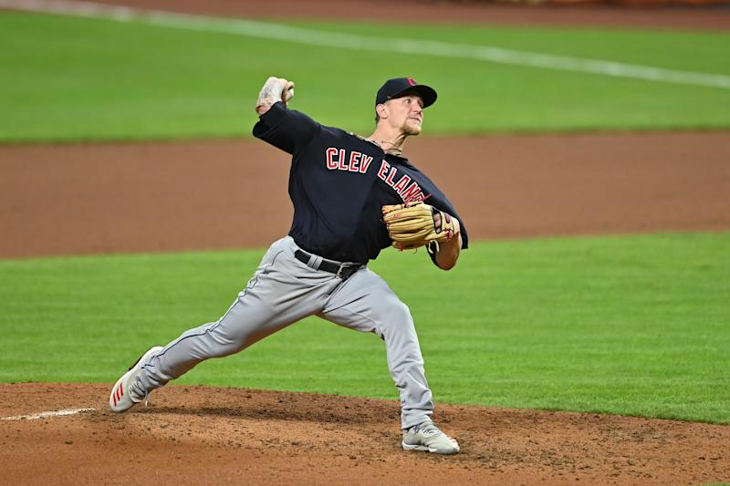 CINCINNATI, OH - AUGUST 3: Zach Plesac #34 of the Cleveland Indians pitches against the Cincinnati Reds at Great American Ball Park on August 3, 2020 in Cincinnati, Ohio. (Photo by Jamie Sabau/Getty Images)