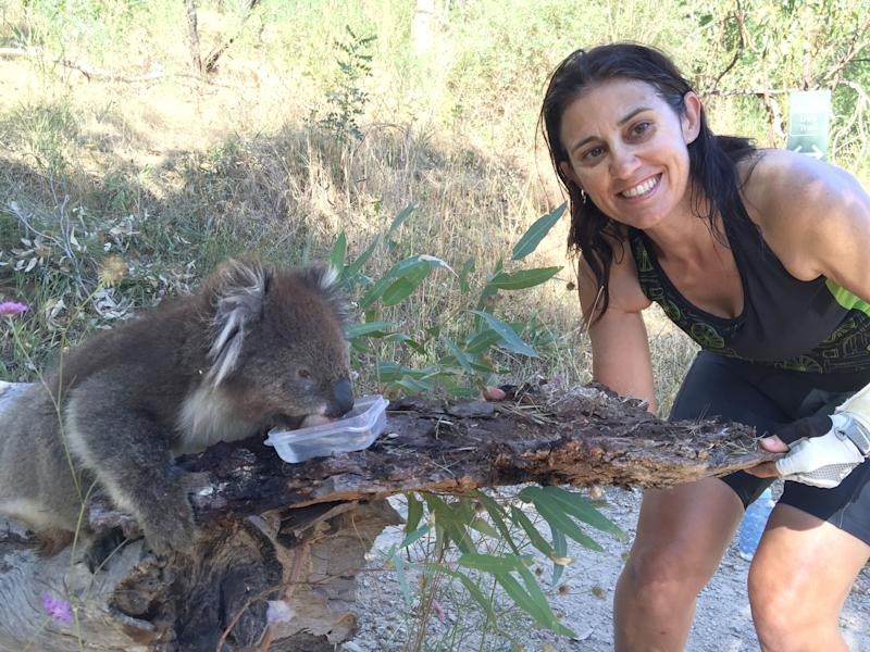 Anna Heusler feeding a koala water. (Caters)