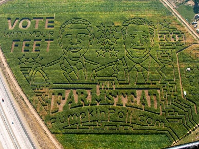 Jim Lowe, owner of The Farmstead in Idaho, carved out the 2012 presidential candidates in his corn maze.